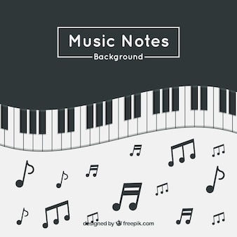 Fond de piano avec notes musicales