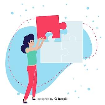 Fond de pièces de puzzle reliant femme