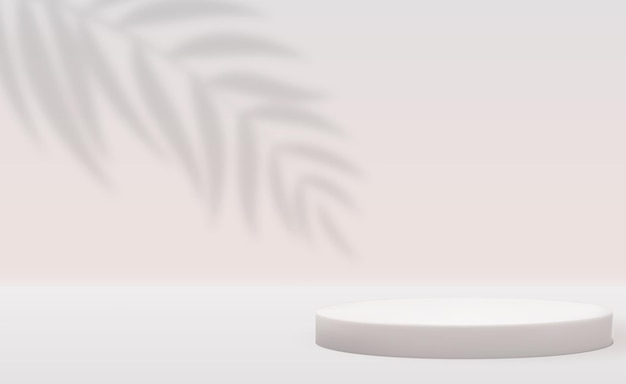 Fond de piédestal 3d blanc avec ombre de feuilles de palmier réaliste