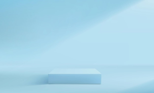 Fond de piédestal abstrait dans les tons bleus. stand vide carré.