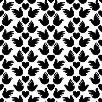 Fond avec des pigeons noirs et des coeurs