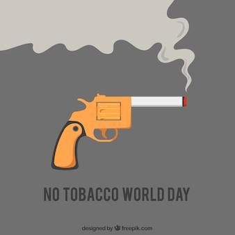 Fond de pistolet avec cigarette allumée