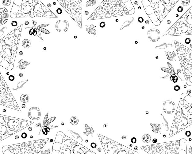 Fond de pizza dans le style doodle. modèle de conception de menu pizza et ingrédients, vue de dessus.