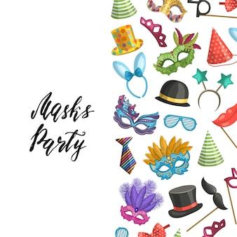 Fond avec place pour le texte avec des masques et des accessoires de fête