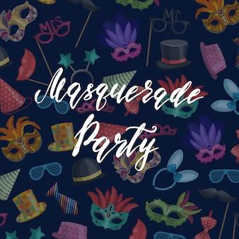 Fond avec place pour le texte avec des masques et un ensemble d'accessoires de fête
