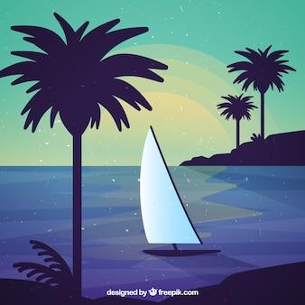 Fond de plage avec bateau et palmiers