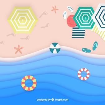 Fond de plage du haut en texture de papier
