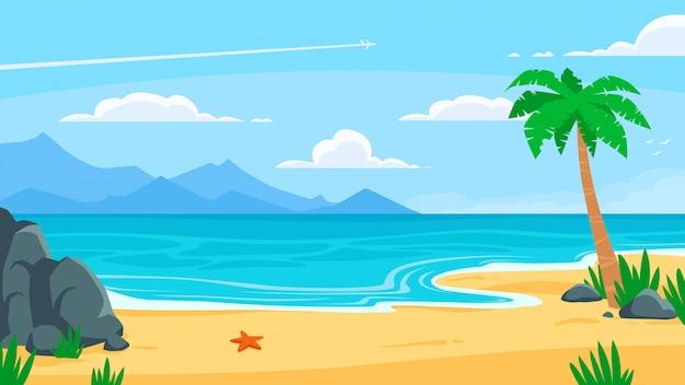Fond de plage d'été. bord de mer de sable, côte de la mer avec palmier et illustration de toile de fond de dessin animé de voyage en bord de mer