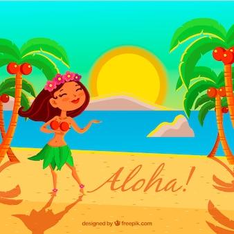 Fond de plage avec une fille hawaïenne