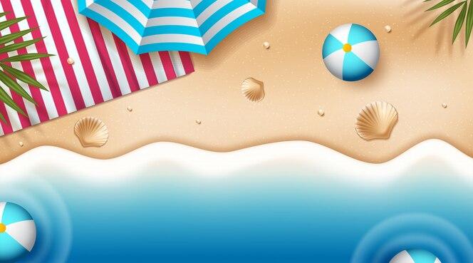 Fond de plage avec parasols