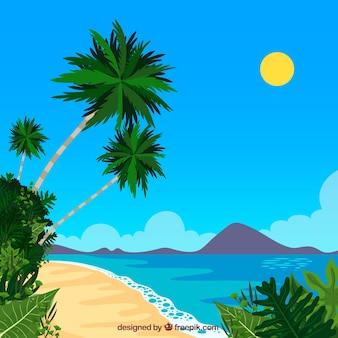 Fond de plage tropicale avec des palmiers