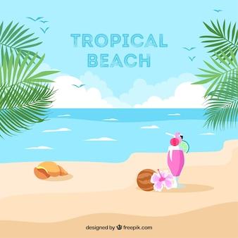 Fond de plage tropicale