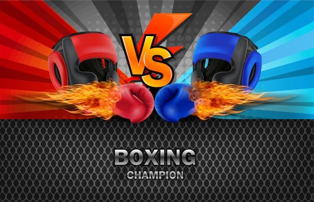 Fond de planche de combat de boxe bleu et rouge.
