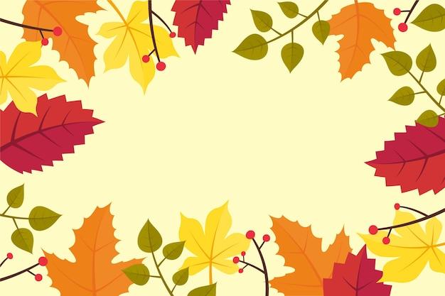 Fond plat d'automne avec des feuilles