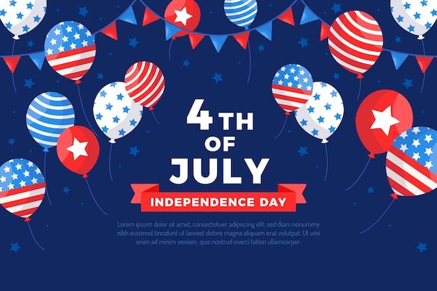 Fond plat de ballons de fête de l'indépendance du 4 juillet