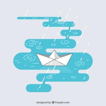 Fond plat avec bateau en papier et pluie