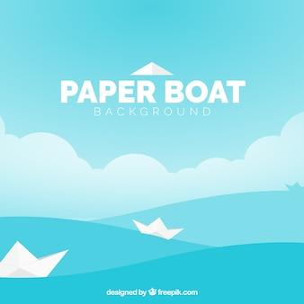 Fond plat avec bateaux en papier