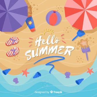 Fond Plat Bonjour L'été à La Plage Vecteur gratuit