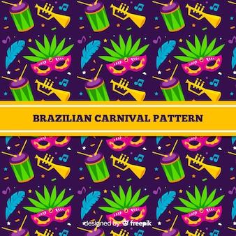 Fond plat de carnaval brésilien d'éléments