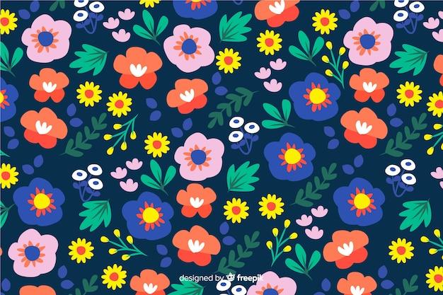 Fond plat coloré de fleurs et feuilles