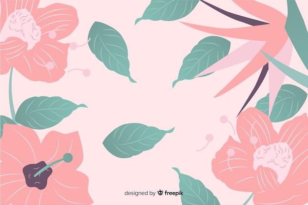 Fond plat coloré avec des fleurs