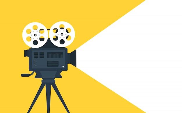 Fond plat de concept de temps de film. conception de bannière de cinéma