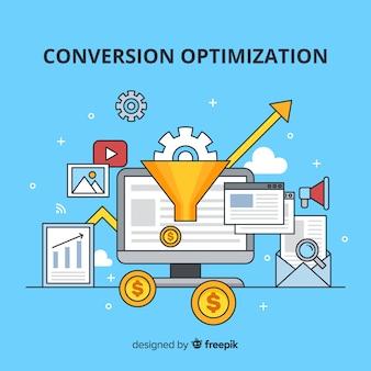 Fond plat de conversion marketing