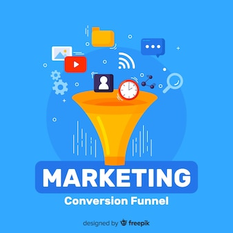 Fond plat de conversion marketing