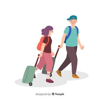 Fond plat couple voyageant
