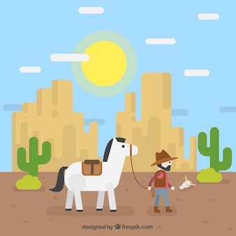 Fond plat avec cow-boy et montagnes rocheuses
