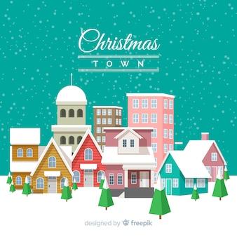 Fond plat de la ville de Noël