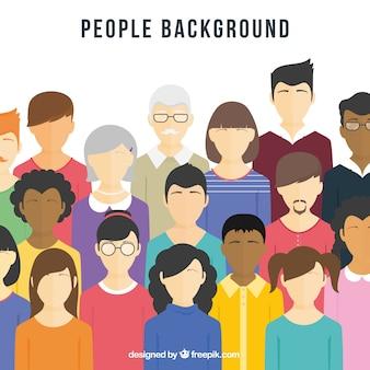 Fond plat avec diversité de personnes