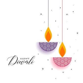 Fond plat de diwali avec diya décoratif