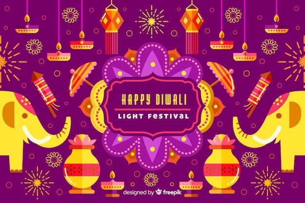 Fond plat de diwali avec des éléphants