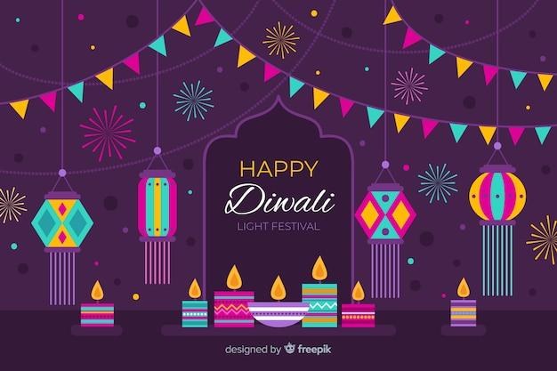 Fond plat de diwali avec des guirlandes colorées