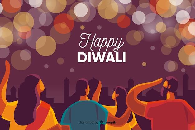 Fond plat de diwali avec des problèmes de caméra floue