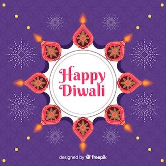 Fond plat de diwali et soleil d'ornement