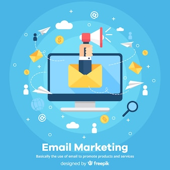 Fond plat d'e-mail marketing