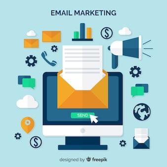 Fond plat d'e-mail marketing