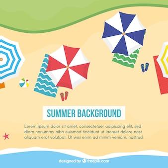 Fond plat d'été avec des parasols