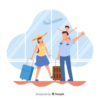 Fond plat famille voyageant