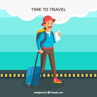 Fond plat avec une femme le temps de voyager