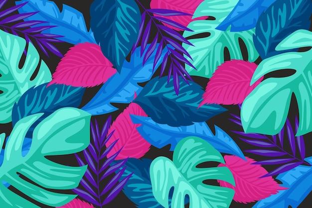 Fond plat de feuilles tropicales