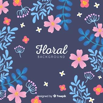 Fond plat de fleurs et feuilles