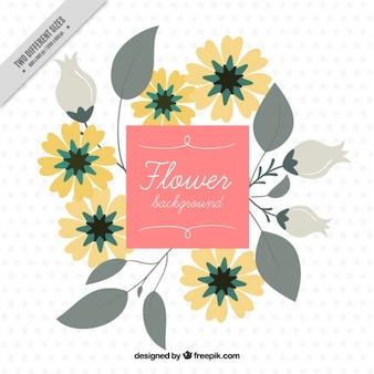 Fond plat avec des fleurs jaunes