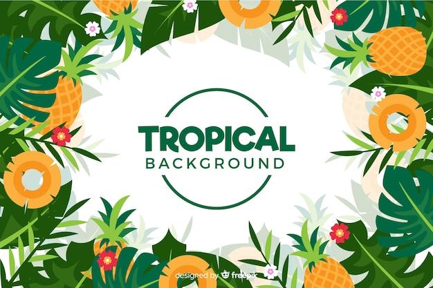 Fond plat de fleurs tropicales