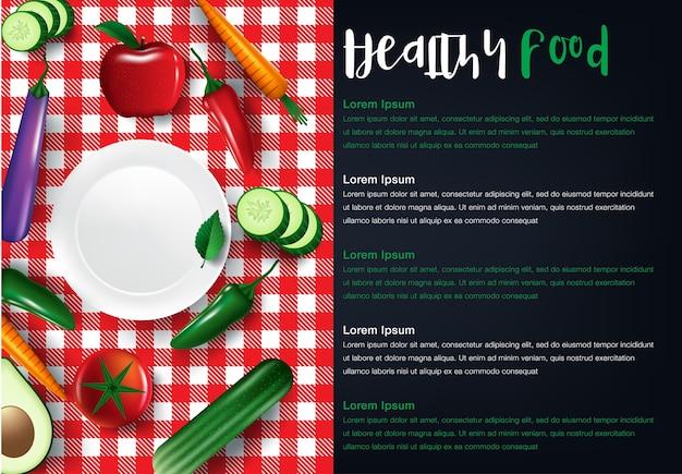 Fond plat de fruits et légumes des aliments sains