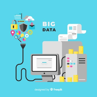 Fond plat grand données moderne