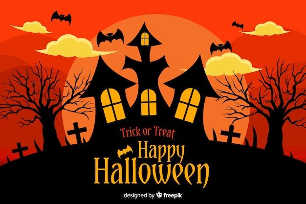 Fond plat d'halloween avec la maison hantée
