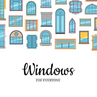Fond plat icônes fenêtre avec espace copie
